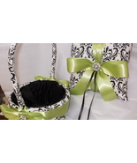 Damask BASKET ONLY Flower Girl Basket Black White Madison Lime Green Ribbon - $29.00