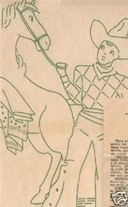 c1939 Cowboy & Horse DOW embroidery transfer LW2017