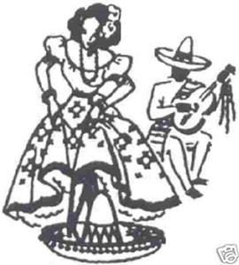 Primary image for 1940s Mexican Lady DOW towel transfer embroidery mo2546