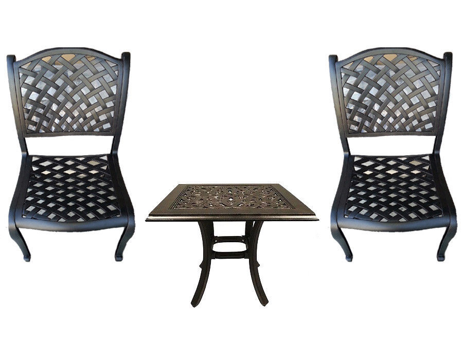 3 piece bistro patio cast aluminum set outdoor dining armless chairs - end table