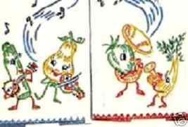 c1954 MUSICAL ANTHRO FRUITS & VEGGIES transfer Mc1880 - $5.00