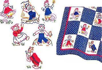 Raggedy Ann with Andy + Belinda 1943 Quilt Pattern transfer