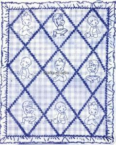 Baby n Diapers applique / embroidery coverlet quilt AB7217