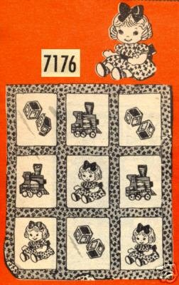 Vintage Crib Quilt with DOLLS & TOYS transfer pattern mo7176