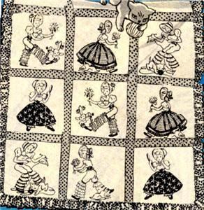 Vintage Southern Belle with pantaloons quilt transfer patter