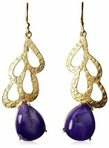Blossom Box Gold Plated Druzy Purple Agate Dangle Drop Earrings