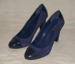 Lauren Ralph Lauren Rafita Blue Suede Patent Leather Cap Toe Pumps Shoes 9.5 B 9 - $49.99