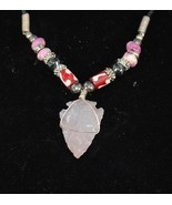 Choker with Red and Pink barrel beads & white arrow head pen - $8.95