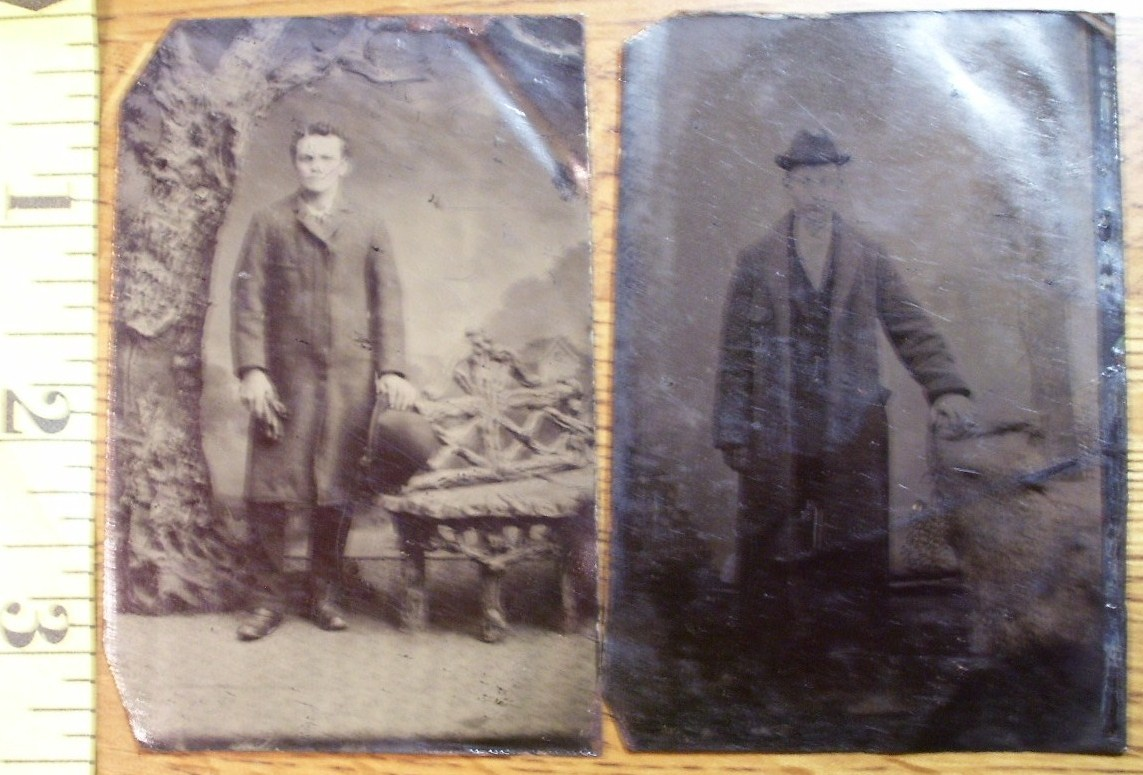 Primary image for Tintype Photo Lot (2) Handsome Men Coats & Hats! c.1865-80