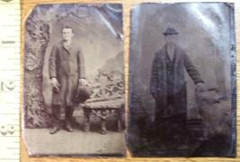 Tintype Photo Lot (2) Handsome Men Coats & Hats! c.1865-80 - $12.00