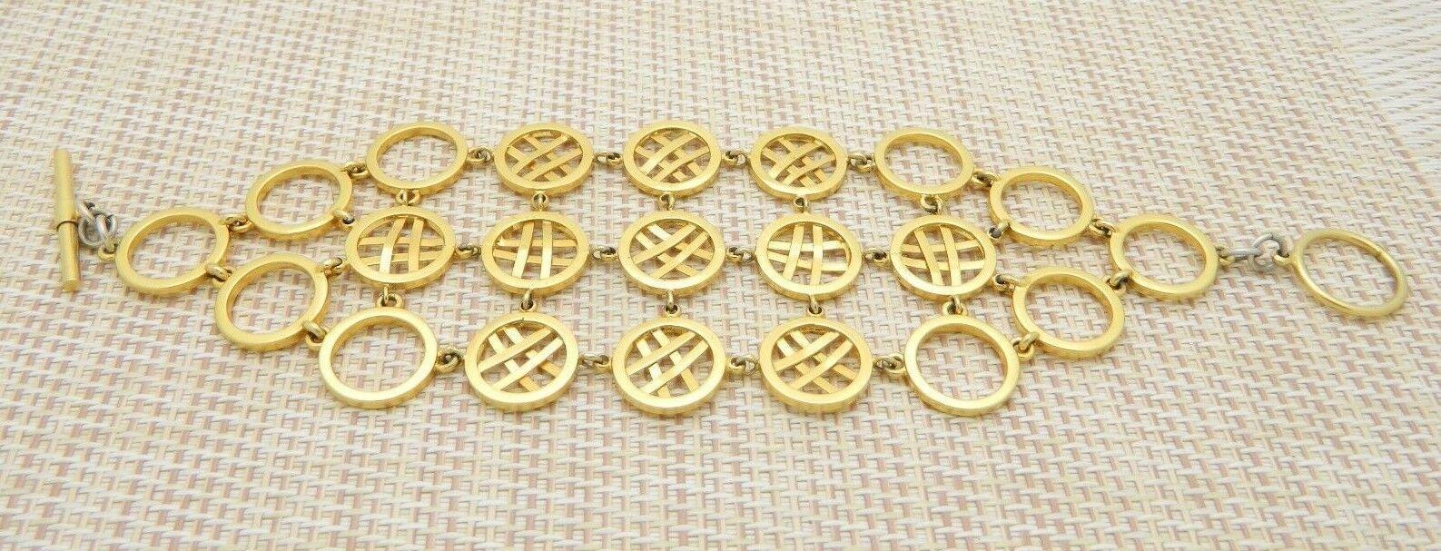 "Circle Cross Hatch Modernist Abstract Gold Tone Bracelet Vintage 7"""