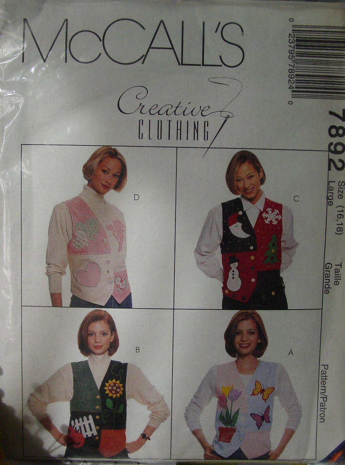 Pattern: Vest to fit the Seasons 7892 Large 16-18 size