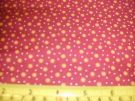 1/2 Yd Andover Fabric Quilt Study center Gold Suns Dots on Red - $5.09