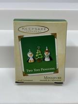 2002 Two Tiny Penguins & Christmas Tree ~ Glass ~ Hallmark Miniature Ornaments - $13.36