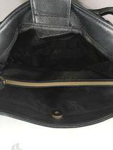 Fossil Vintage Black Leather Multi Pocket Shoulder Bag Brass Tone Hardware image 7