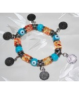 Blue Evil Eye & Floral Bead Stretch Bracelet with Coin Charm - $14.95
