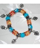 Blue Evil Eye & Floral Bead Stretch Bracelet & Heart Charms - $14.95