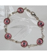 Light Pink Evil Eye Glass Bead Bracelet - $12.95