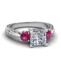 Three Stone Wedding Ring Princess Cut Diamond White Gold Plated Pure 925... - ₨5,547.95 INR