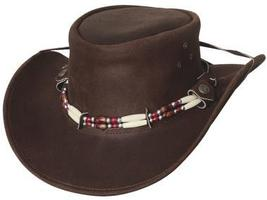 Bullhide Uplander Leather Aussie Crown Cowboy Cowgirl Hat Barrel Beads Brown - $76.00