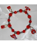 Red Hat Stretch Bracelet with Purse & Hat Charms - $2.00
