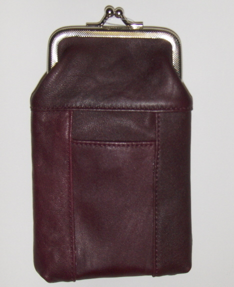 New Genuine Leather Soft Cigarette Case - DK.BURGUNDY/WINE