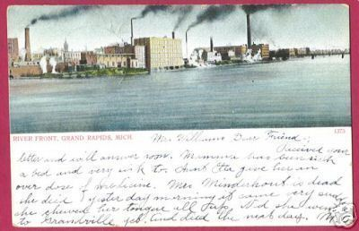 Grand Rapids MI River Front 1907 Michigan