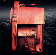 Mens Satchel Vintage Brown Vertical Leather Messenger Bag Shoulder Cross... - $51.47