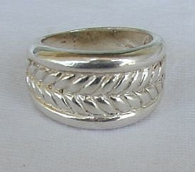 Rope silver ring