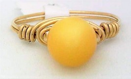 Fossil Amber Gemstone Bead Gold Wire Wrap Ring sz.7 - $10.08