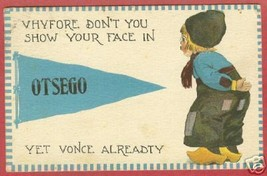 Otsego MI Pennant Dutch Michigan 1913 Postcard BJs - $7.00