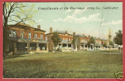 Coldwater MI Postcard Cottage Row State School BJs
