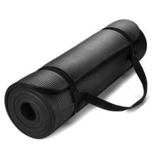 Exercise Mat Thick HD Foam BLACK Yoga Floor Pilates Stretching Gym Worko... - $27.18
