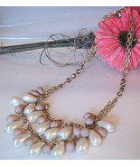 J Crew Necklace Chunky Gold Chain White Rose Beads Amethyst Crystal Rhin... - $19.99