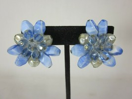 Vintage Western Germany Signed Blue Lucite Cluster Clip On Earrings - $9.89