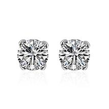 Swarovski Crystal Stud diamond cut Earring in White Gold Plated - $14.00+