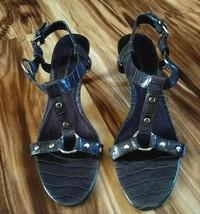 Bandolino Women's Size 8.5 Brown T-strap Heels Silver Stud Embellished Open Toe  - $16.82