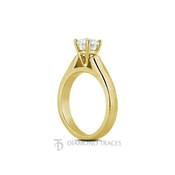 0.60ct I-VS1 VG Round Certified Diamond 14k Gold Cathedral Solitaire Ring 3.6mm