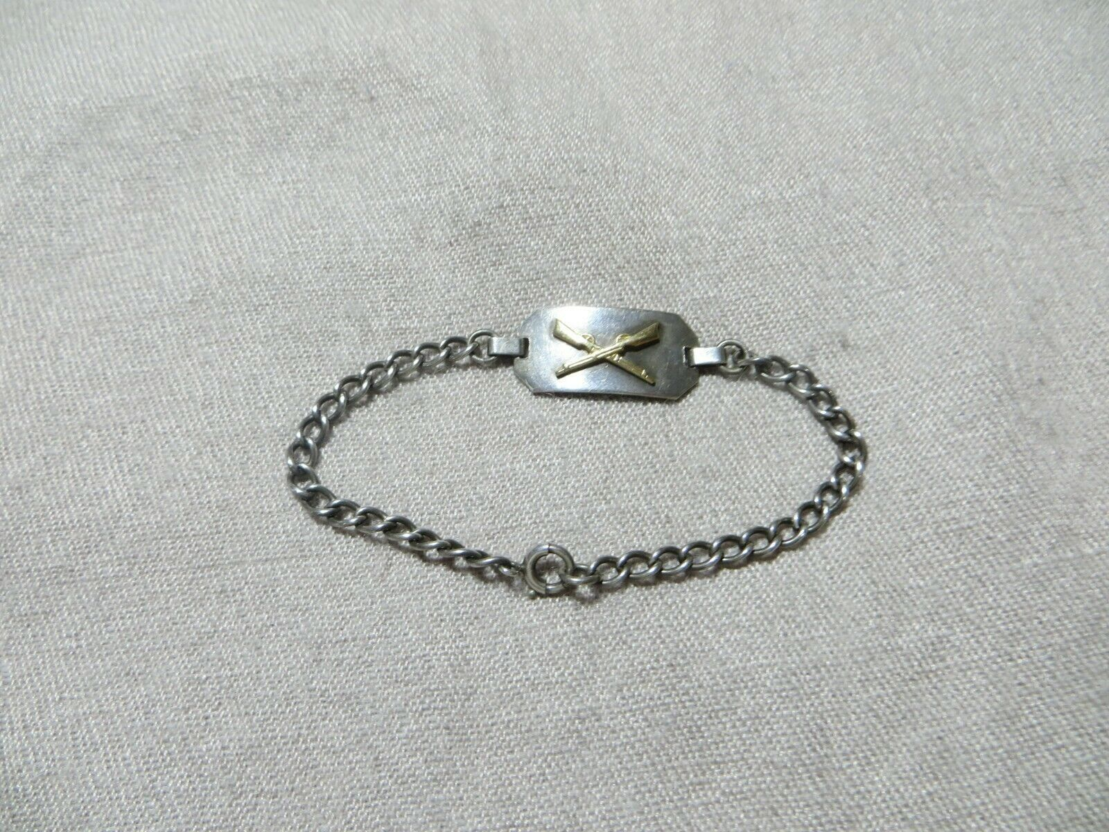 """Antg. Victorian/Edwardian Sterling Tag Chain Bracelet w/Gold Cross Rifle's 6.25"""""""