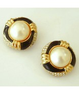 CINER Black Enamel Earrings Rhinestones Faux Pearl - $34.95