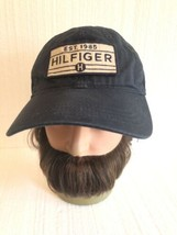 Tommy Hilfiger Mens Navy Blue Strapback Hat Cap Spellout Adjustable - $14.84