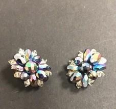 Earrings Clip Faceted Crystal Beaded Blue Green Aurora Borealis Wedding 1950 VTG - $18.69