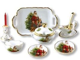 DOLLHOUSE Christmas Santa Dinner Set for 2 Reutter Porcelain 1.344/8 NRFB 1:12 - $35.00
