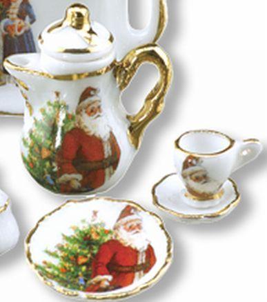 DOLLHOUSE Christmas Santa Tea/Coffee Set for 2 Reutter Porcelain 1.334/8 NRFB