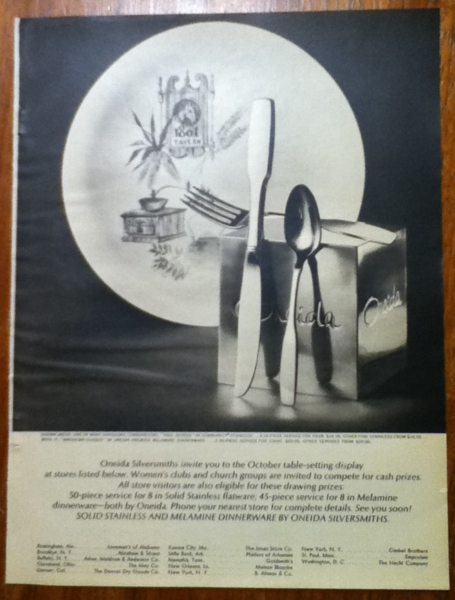 Vintage Ad Oneida Silversmiths 1965 Paul Revere Community Stainless