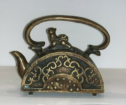 Vintage Chinese Bronze Teapot with Foo Dog Lid and Marked on the Bottom - $147.51