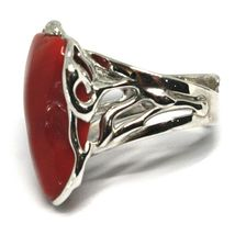 925 SILVER RING, RED CORAL NATURAL CABOCHON, MADE IN ITALY image 4