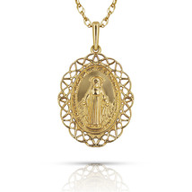 New 14K Yellow Gold Miraculous Medal Virgin Mary Pendant Necklace Chain - $163.63+
