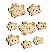 Chubby Round Hippo Hippopotamus Wood Buttons for Sewing Knitting Crochet... - $9.99