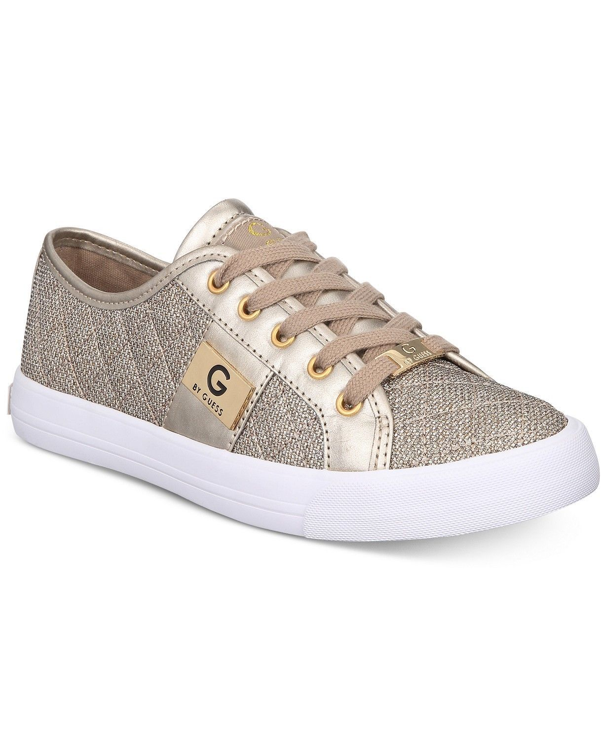 G by Guess Women's Lace Up Leather Quilted Fabric Glitter Sneakers Shoes Gold